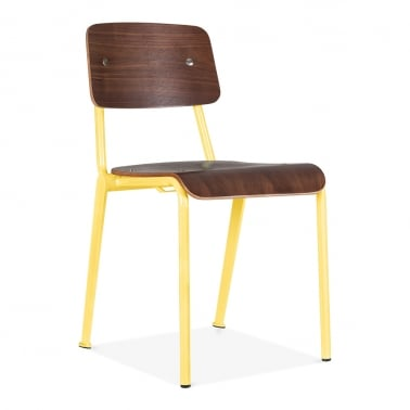 French School Chair with Wood Finish Option - Yellow