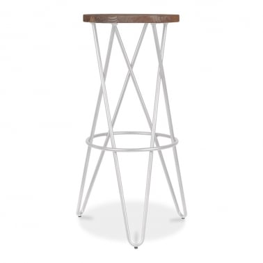 Crossed Leg Hairpin Stool With Wooden Seat - Light Grey 75cm