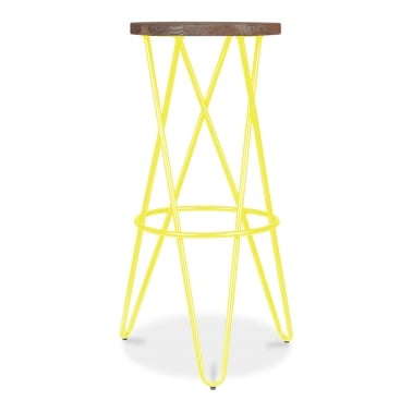 Crossed Leg Hairpin Stool With Wooden Seat - Yellow 75cm