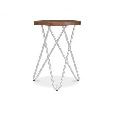 Crossed Leg Hairpin Stool With Wooden Seat - Light Grey 45cm
