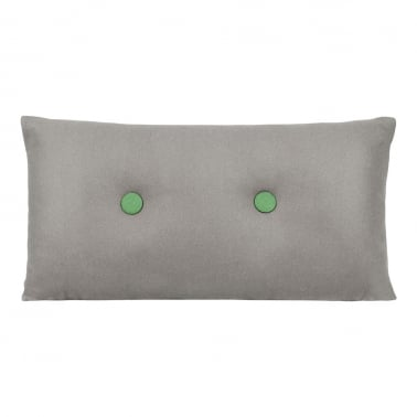 Poet Cushion With Double Button - Grey with Green Button
