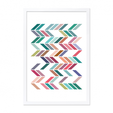 Geometric Zigzag Poster - Teal A2