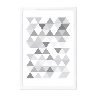 Geometric Triangle Framed Poster - Grey A2