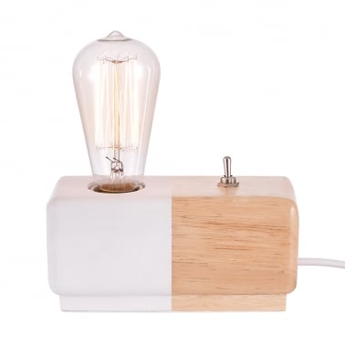 Alma Table Lamp - White / Wood
