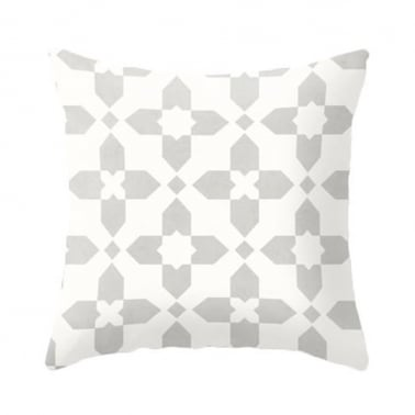 Geometric Cross Cushion - Grey and White