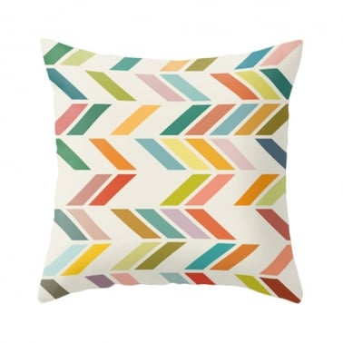 Geometric Suedette ZigZag Cushion - Lime