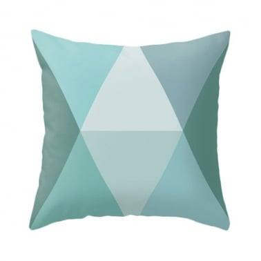 Geometric Diamond Suedette Cushion - Turquoise