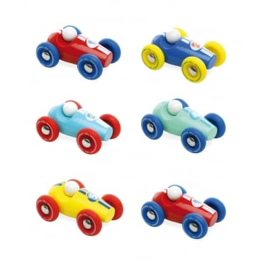 Mini Race Car Wooden Toy Set of 6 - Red