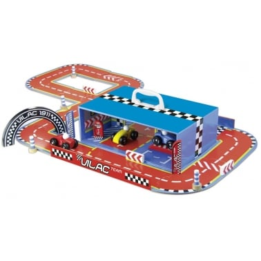 Little Wooden Race Track in Carry Case - Multi coloured