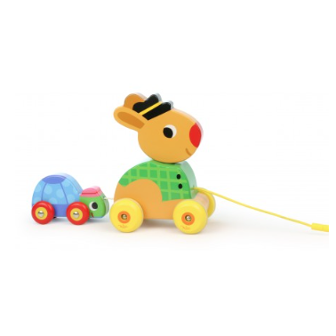 Hare and Tortoise Pull Along Musical Wooden Toy - Multi Coloured