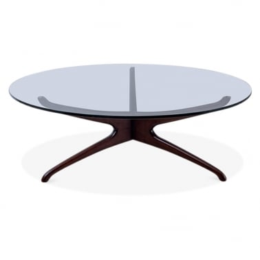 Alberg Glass Top Coffee Table - Brown