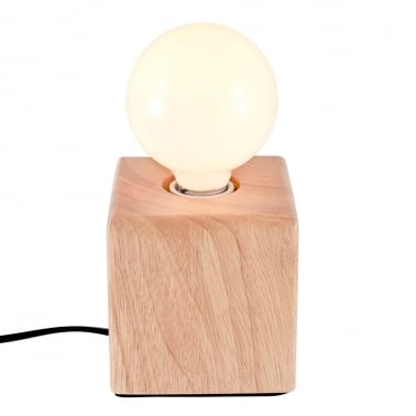 Wooden Cube Table Lamp - Natural