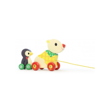 Bear and Penguin Pull Along Musical Wooden Toy - Multi coloured