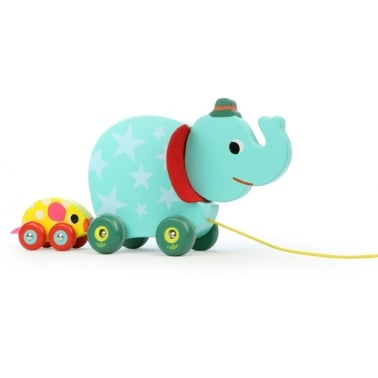 Elephant and Mouse Pull Along Musical Wooden Toy - Multi coloured