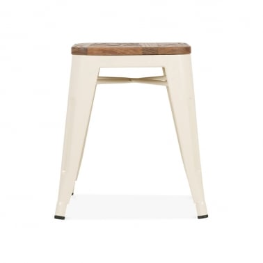 Tolix Stool Powder Coated with Natural Wood Seat - Cream 45cm