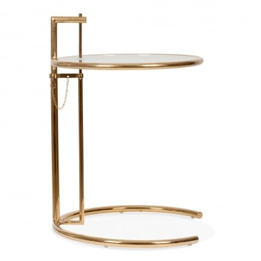Eileen Gray Style Glass Side Table, Adjustable Height, Gold