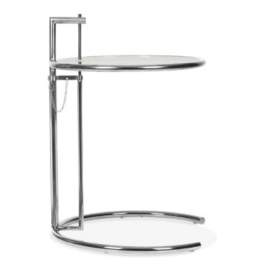 Eileen Gray Style Glass Side Table, Adjustable Height, Chrome