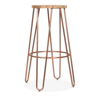 Hairpin Stool With Natural Elm Wood Seat - Vintage Copper 76cm