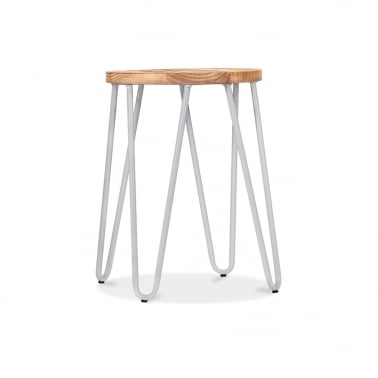 Hairpin Stool with Wood Seat Option - Light Grey 46cm