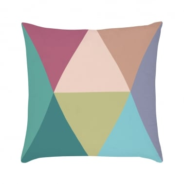 Geometric Diamond Suedette Cushion - Multicolour