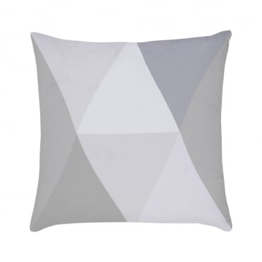 Geometric Diamond Suedette Cushion - Grey