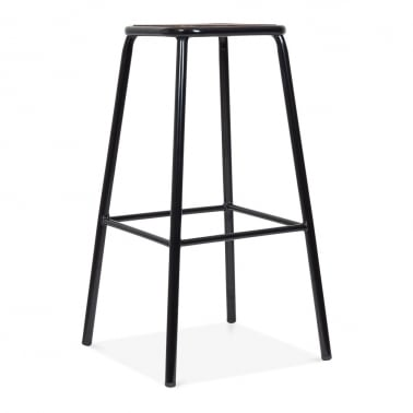Brooklyn Stool with Wood Seat - Black 75cm