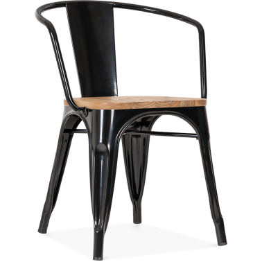 Tolix Style Armchair with Wood Seat Option - Black