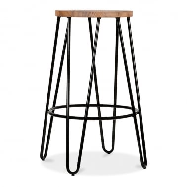 Hairpin Stool with Wood Seat Option - Black 66cm