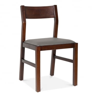 Grove Wooden Dining Chair - Brown / Grey Seat