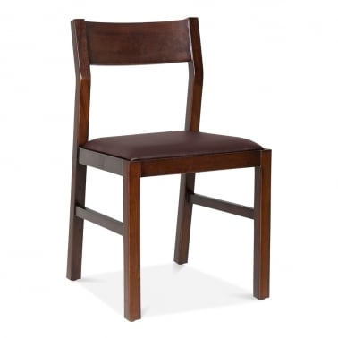 Grove Wooden Dining Chair - Brown / Dark Red Seat