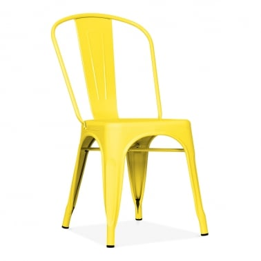 Tolix Style Metal Side Chair - Yellow