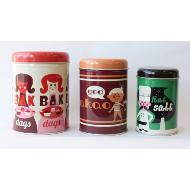 Ingela P Arrhenius Tin Character Canisters x3 - Multi Coloured