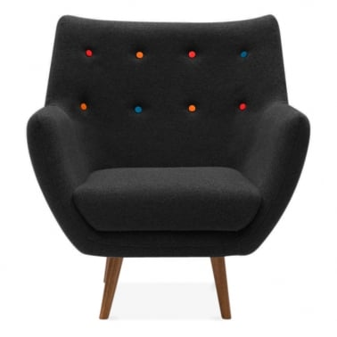 Poet Lounge Armchair - Black / Multicolour Buttons