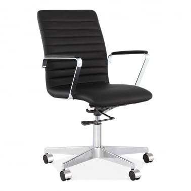 Barclay Office Chair with Ribbed Back - Black