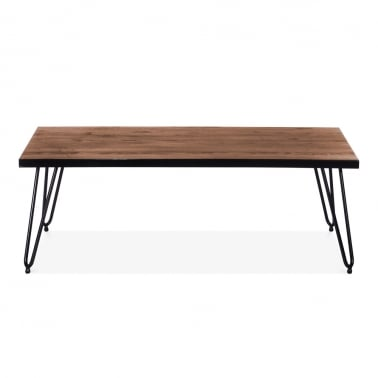 Hairpin Rectangular Coffee Table with Solid Wood Top - Gunmetal 122cm