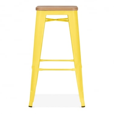 Tolix Style Metal Stool with Natural Wood Seat - Yellow 75cm