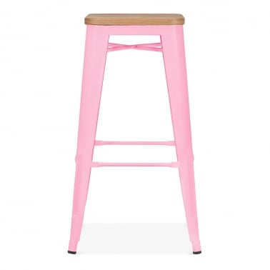 Tolix Style Stool with Natural Wood Seat - Candy Pink 75cm