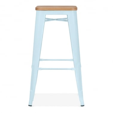 Tolix Style Stool with Natural Wood Seat - Pastel Blue 75cm