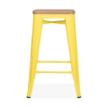 Tolix Style Metal Stool with Natural Wood Seat - Yellow 65cm