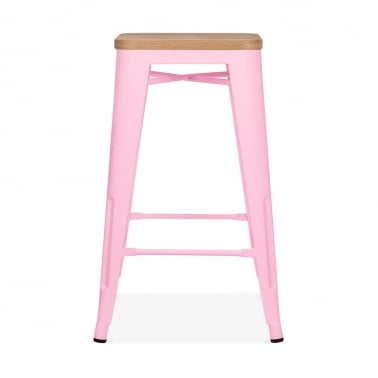 Tolix Style Stool with Natural Wood Seat - Candy Pink 65cm