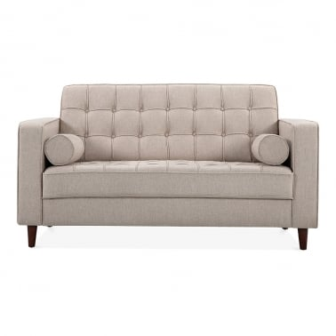 Clifford 2 Seater Loveseat Sofa, Fabric Upholstered, Cream