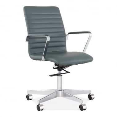 leather office chair modern. Barclay Office Chair With Ribbed Back - Dark Grey Leather Modern