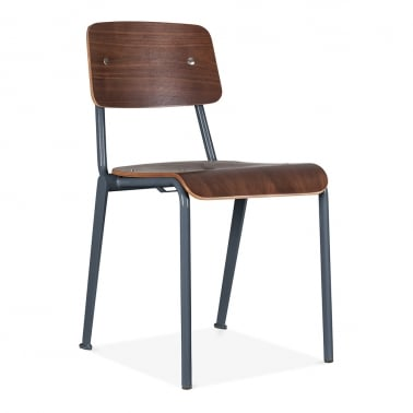 French School Chair with Wood Finish Option - Dark Grey