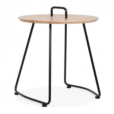 Nova Side Table with Natural Wood Top - Black