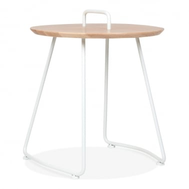 Nova Side Table with Natural Wood Top - White