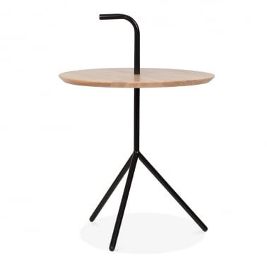 Compton Side Table with Natural Wood Top - Black