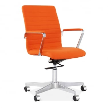 Barclay Office Chair in Cashmere with Ribbed Back - Orange