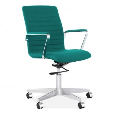 Barclay Office Chair in Cashmere with Ribbed Back - Teal