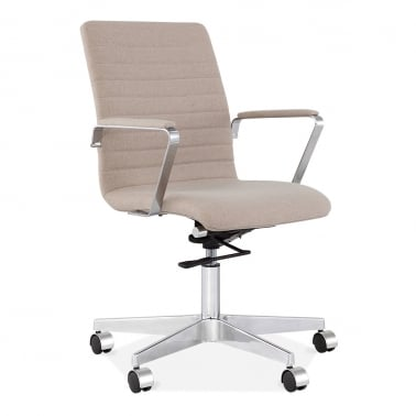 Barclay Office Chair in Cashmere with Ribbed Back - Beige