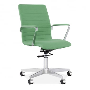 Barclay Office Chair in Cashmere with Ribbed Back - Green